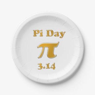 Prato De Papel Ouro do dia do Pi no branco