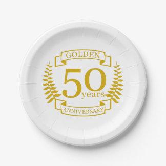 Prato De Papel Ouro DOURADO 50 anos de aniversário de casamento