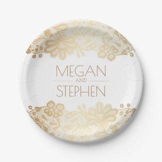 Prato De Papel Ouro e casamento elegante floral do laço branco