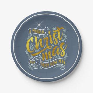 Prato De Papel Ouro mágico ID441 da tipografia do Natal