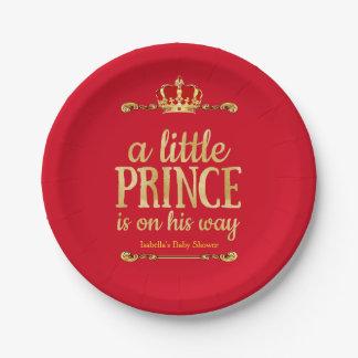 Prato De Papel Ouro vermelho chá de fraldas pequeno do príncipe