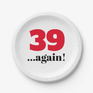 Prato De Papel outra vez celebração do aniversário 39