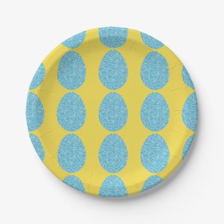 Prato De Papel Ovos da páscoa azuis do Squiggle
