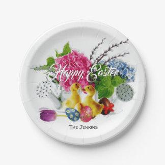 Prato De Papel Ovos da páscoa da aguarela, patinhos & flores do