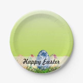 Prato De Papel Ovos da páscoa modelados bonito no verde do