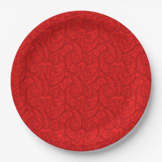 Prato De Papel Paisley vermelho