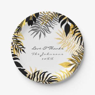Prato De Papel Palma de ouro branco preta tropical da grinalda