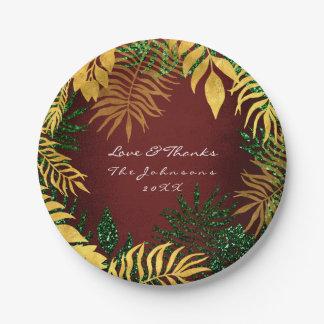 Prato De Papel Palma marrom tropical do verde do ouro de Borgonha