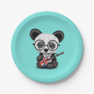 Prato De Papel Panda do bebê que joga a guitarra britânica da
