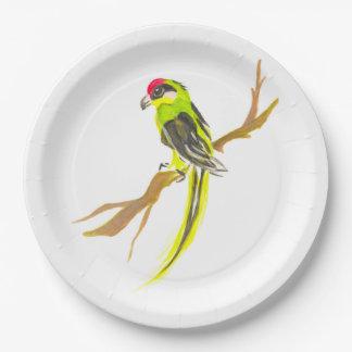 Prato De Papel Papagaio em um ramo. Pintura da aguarela. Arte de