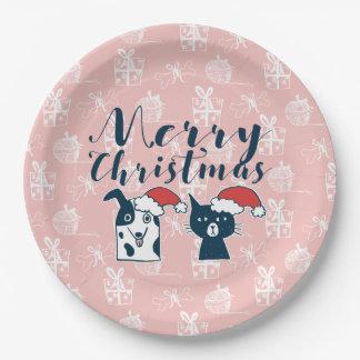 Prato De Papel Papai noel bonito cão & Natal da ilustração do