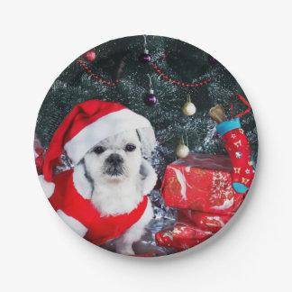 Prato De Papel Papai noel da caniche - cão do Natal - cão de