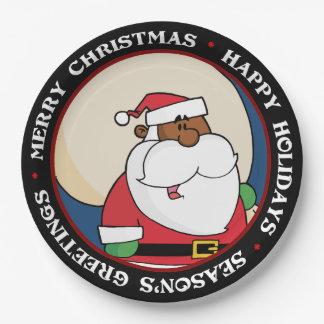 Prato De Papel Papai Noel preto com saco do brinquedo