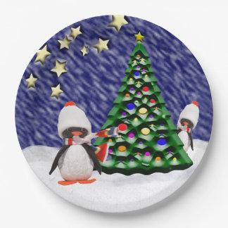 Prato De Papel Paraíso adorável do Natal do ornamento do pinguim