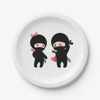 Prato De Papel Pares de Ninja, um menino e uma menina
