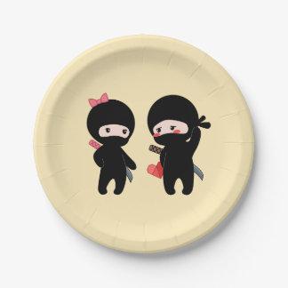 Prato De Papel Pares de Ninja, um menino e uma menina no amarelo