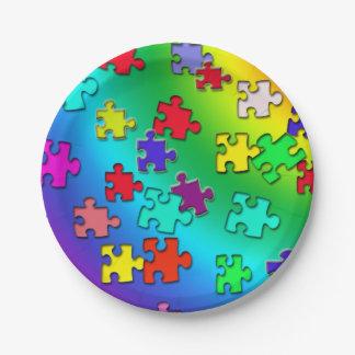 Prato De Papel Partes coloridos dos quebra-cabeça de serra de