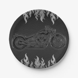 Prato De Papel Partido de prata de couro preto do motociclista da