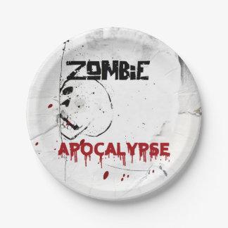 Prato De Papel Partido do tema do apocalipse do zombi