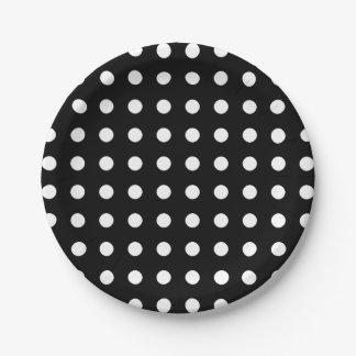 Prato De Papel Partido preto e branco moderno das bolinhas