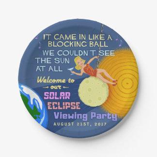 Prato De Papel Partido Sun retro engraçado do eclipse solar que