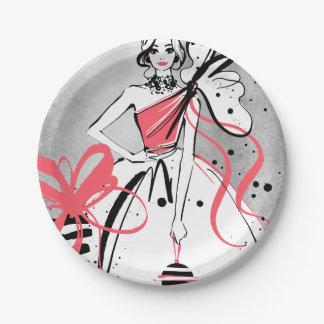 Prato De Papel party girl no fundo de prata