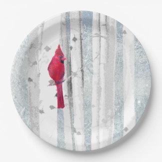 Prato De Papel Pássaro cardinal vermelho na árvore de vidoeiro