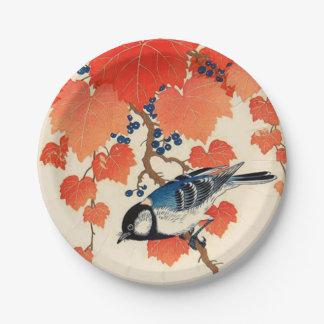 Prato De Papel Pássaro de Jay do japonês do vintage e vinha do