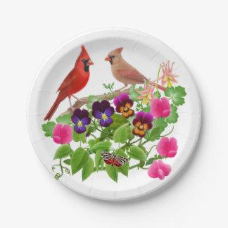 Prato De Papel Pássaros cardinais do norte nas placas de papel do
