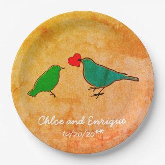 Prato De Papel Pássaros e casamento da aguarela do coração do