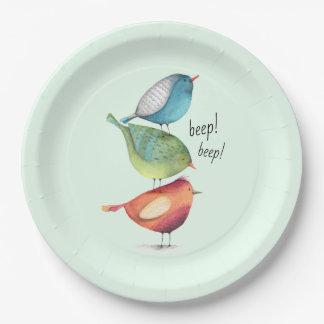 Prato De Papel Pássaros gordos bonitos que estão em se