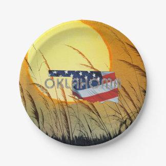 Prato De Papel Patriota de Oklahoma do T