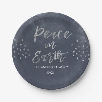 Prato De Papel Paz em placas azuis e de prata da terra da