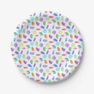 Prato De Papel Pedra de gemas de cristal colorida dos cristais