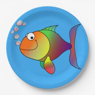 Prato De Papel Peixe dourado alegre bonito no mar, luz - azul