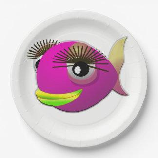 Prato De Papel Peixes cor-de-rosa bonitos tropicais da menina