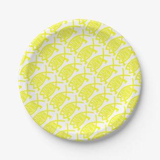 Prato De Papel Peixes originais de Darwin (amarelo)