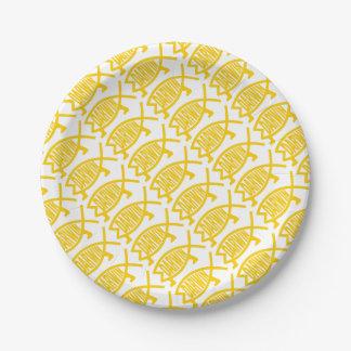 Prato De Papel Peixes originais de Darwin (mostarda)