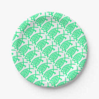 Prato De Papel Peixes originais de Darwin (Seafoam)