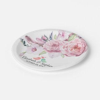Prato De Papel Pena floral de Boho da aguarela chique do chá de