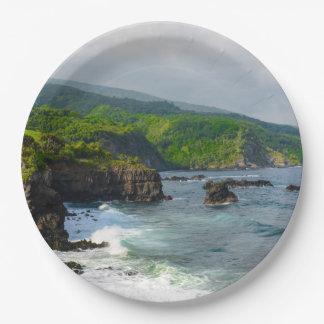 Prato De Papel Penhascos tropicais em Maui Havaí