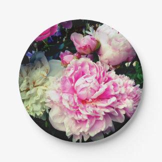 Prato De Papel Peônias cor-de-rosa e brancas