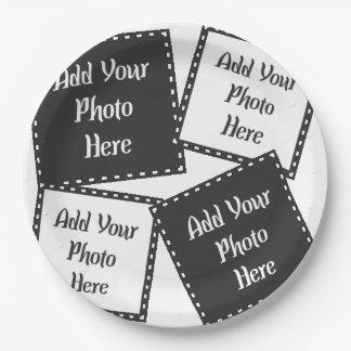 "Prato De Papel Personalize 4 fotos 9"" as placas de papel"