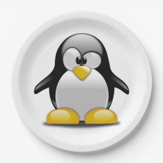Prato De Papel Personalize a placa bonito do partido do pinguim