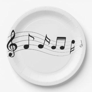 Prato De Papel Personalize a placa do partido das notas musicais