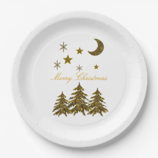 Prato De Papel Personalize, árvore de Natal Sparkly, lua,