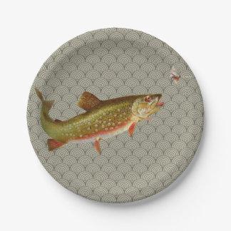 Prato De Papel Pesca com mosca da truta de arco-íris do vintage