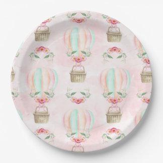Prato De Papel Pêssego do rosa da hortelã do balão de ar quente