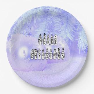 Prato De Papel Pessoas da pia batismal da neve do Feliz Natal,