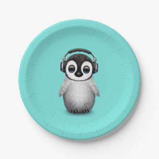 Prato De Papel Pinguim bonito DJ do bebê que veste fones de